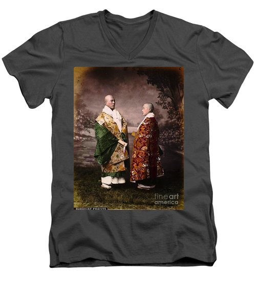 Men's V-Neck T-Shirt featuring the painting Japanese Zen Buddhist Priests Circa 1880 by Peter Gumaer Ogden
