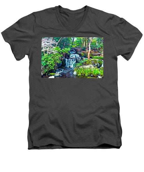 Japanese Waterfall Garden Men's V-Neck T-Shirt