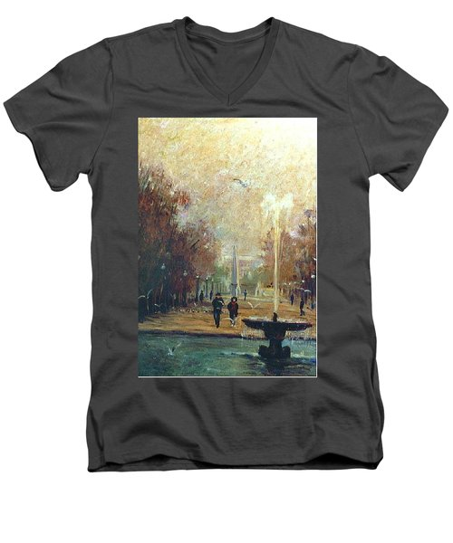Men's V-Neck T-Shirt featuring the painting Jardin Des Tuileries by Walter Casaravilla