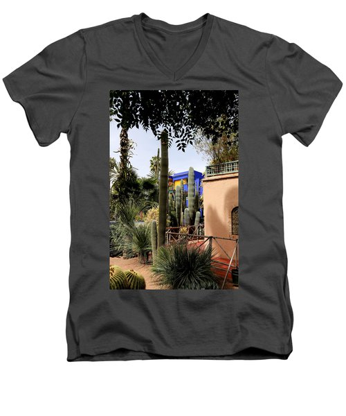 Men's V-Neck T-Shirt featuring the photograph Jardin Majorelle 4 by Andrew Fare
