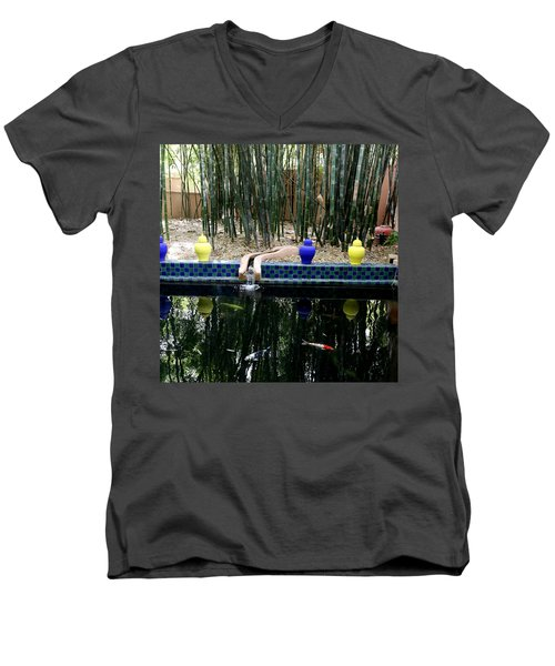Men's V-Neck T-Shirt featuring the photograph Jardin Majorelle by Andrew Fare