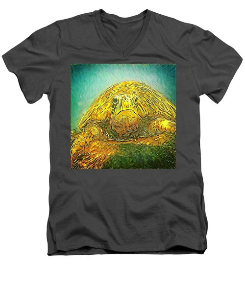 Men's V-Neck T-Shirt featuring the digital art Jasmine The Turtle by Erika Swartzkopf