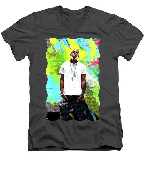 Jay Z - Celebrity Art Men's V-Neck T-Shirt