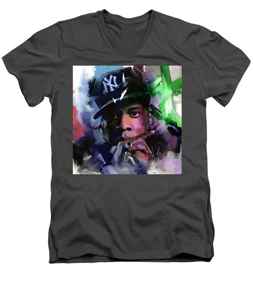 Jay Z Men's V-Neck T-Shirt by Richard Day