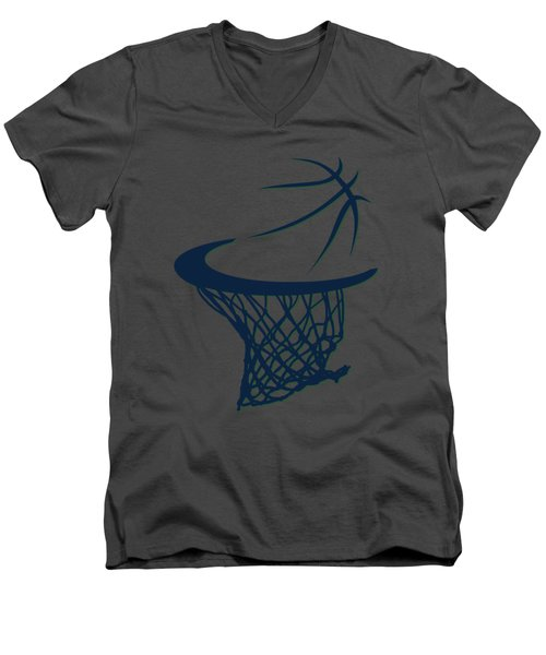 Jazz Basketball Hoop Men's V-Neck T-Shirt by Joe Hamilton
