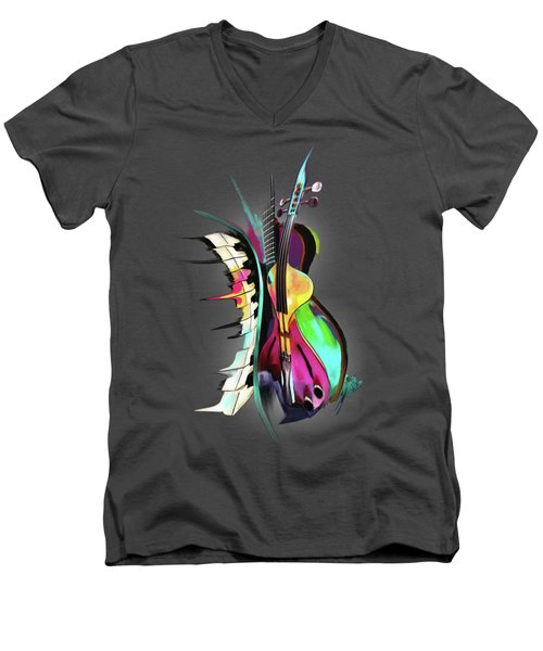Jazz Men's V-Neck T-Shirt by Melanie D