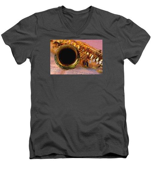 Jazz Saxophone Men's V-Neck T-Shirt