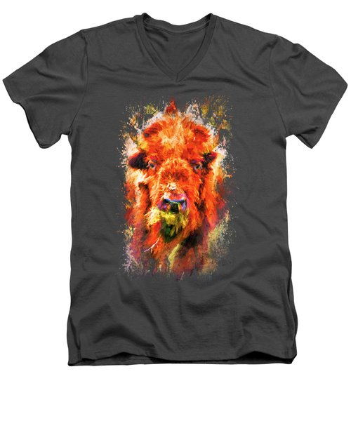 Jazzy Buffalo Colorful Animal Art By Jai Johnson Men's V-Neck T-Shirt