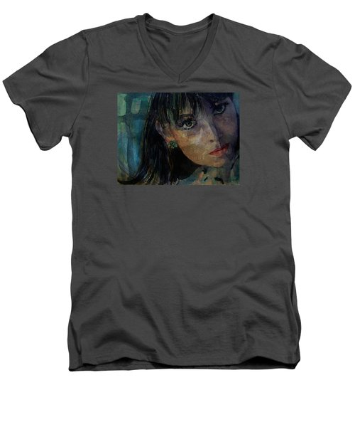 Men's V-Neck T-Shirt featuring the painting Jean Shrimpton by Paul Lovering