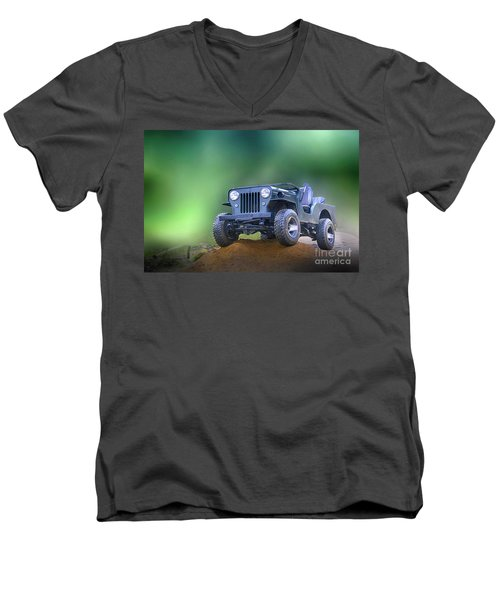 Men's V-Neck T-Shirt featuring the photograph Jeep by Charuhas Images