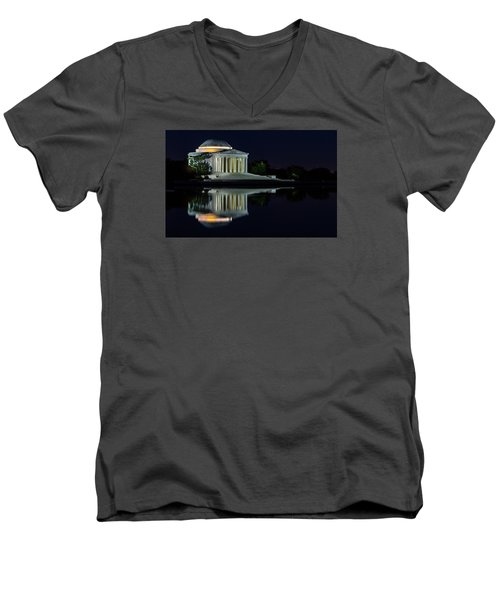 The Jefferson At Night Men's V-Neck T-Shirt by Ed Clark