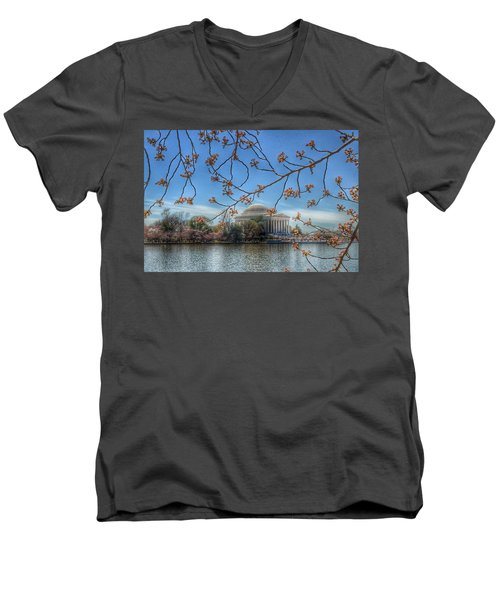 Jefferson Memorial - Cherry Blossoms Men's V-Neck T-Shirt by Marianna Mills