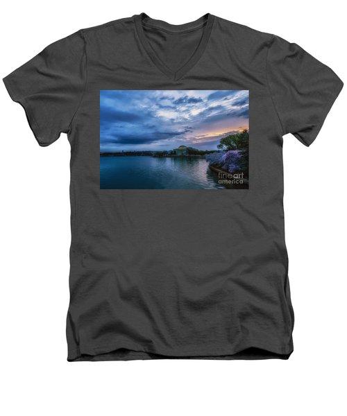 Jefferson Memorial Dawn Men's V-Neck T-Shirt by Thomas R Fletcher