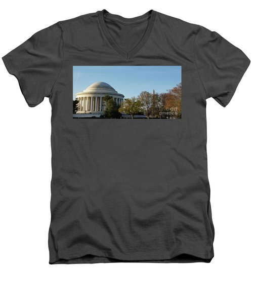 Jefferson Memorial Men's V-Neck T-Shirt by Megan Cohen