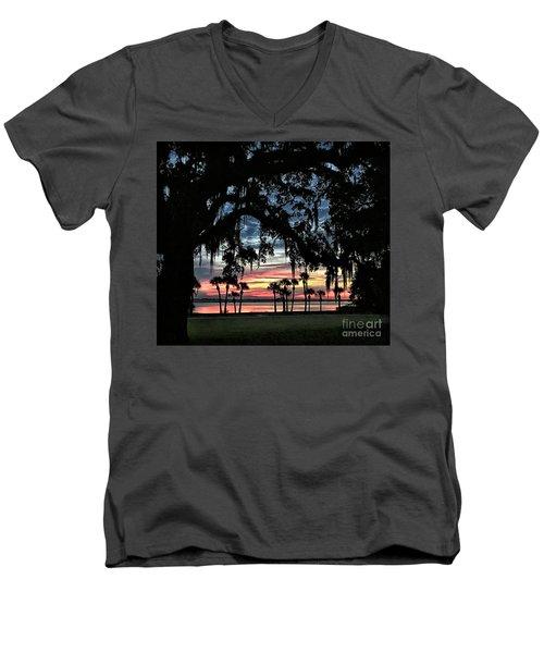Jekyll Island Georgia Sunset Men's V-Neck T-Shirt by Walt Foegelle