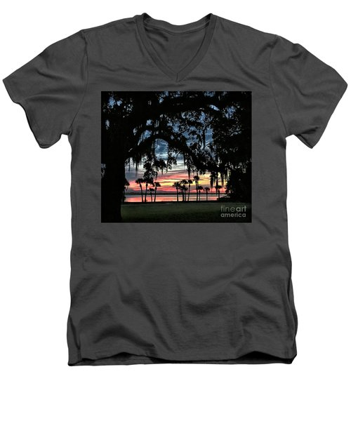 Jekyll Island Georgia Sunset Men's V-Neck T-Shirt