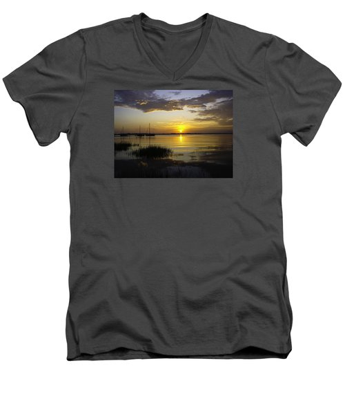 Jekyll Island Sunset Men's V-Neck T-Shirt by Elizabeth Eldridge