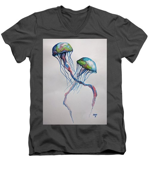 Men's V-Neck T-Shirt featuring the painting Jellyfish by Edwin Alverio