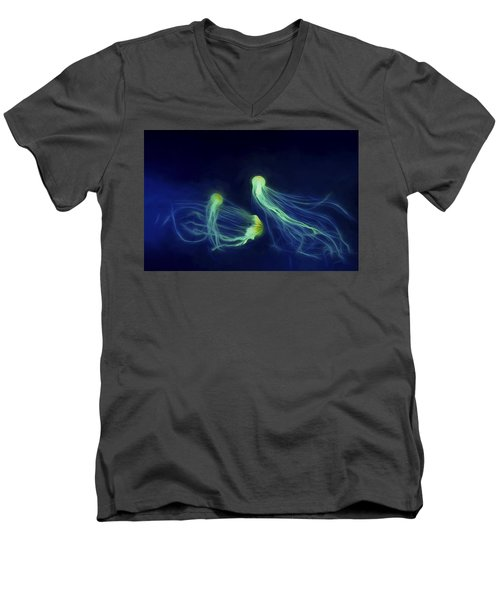 Jellyfish Tango Men's V-Neck T-Shirt by Steven Richardson