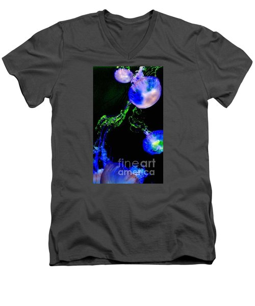 Men's V-Neck T-Shirt featuring the photograph Jellylights by Vanessa Palomino
