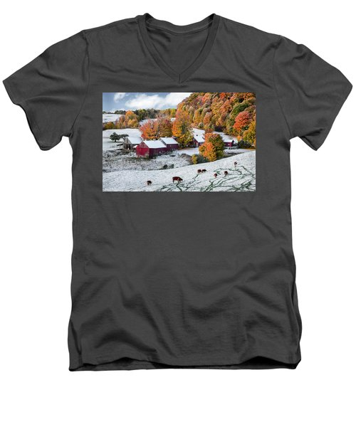 Men's V-Neck T-Shirt featuring the photograph Jenne Farm, Reading, Vt by Betty Denise