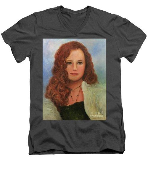 Men's V-Neck T-Shirt featuring the painting Jennifer by Randol Burns