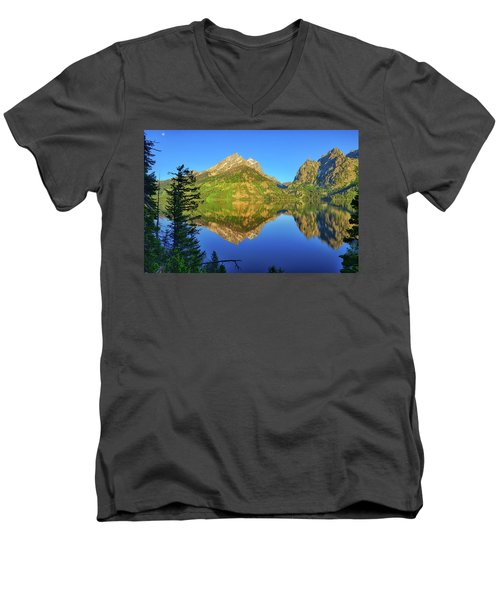 Jenny Lake Morning Reflections Men's V-Neck T-Shirt