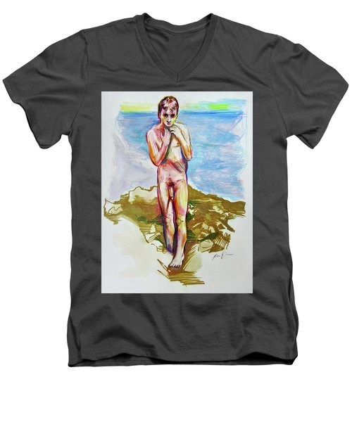 Jeremy At The Beach Men's V-Neck T-Shirt