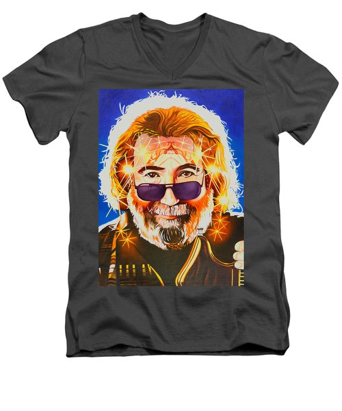 Men's V-Neck T-Shirt featuring the painting Jerry Garcia-dark Star by Joshua Morton
