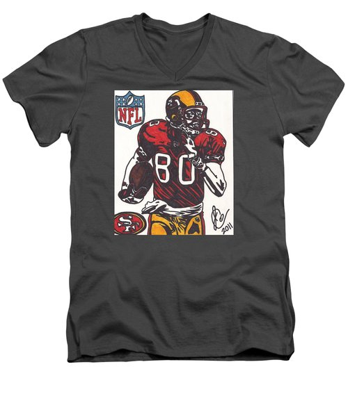 Men's V-Neck T-Shirt featuring the drawing Jerry Rice by Jeremiah Colley