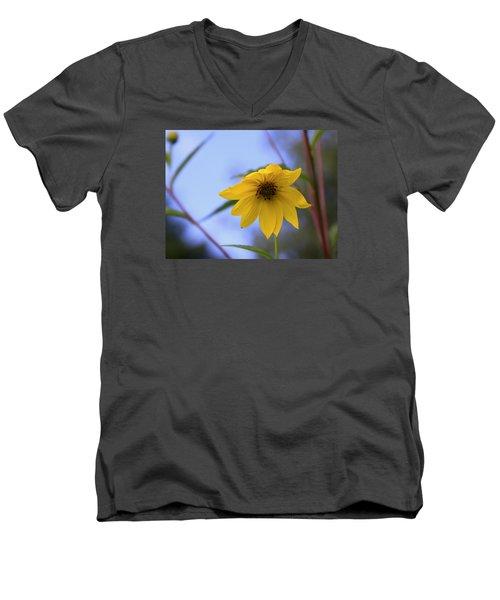 Jerusalem Artichoke And Blue Sky Men's V-Neck T-Shirt by Larry Capra