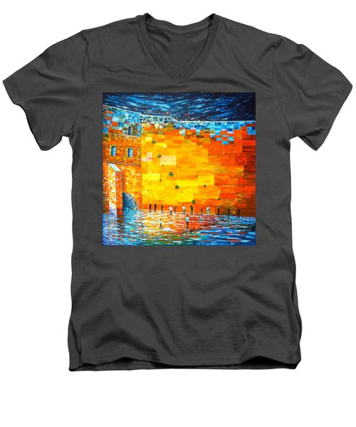 Men's V-Neck T-Shirt featuring the painting Jerusalem Wailing Wall Original Acrylic Palette Knife Painting by Georgeta Blanaru