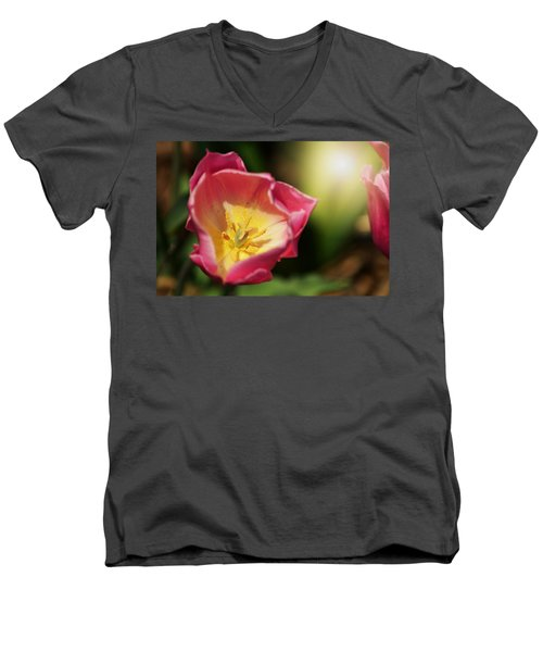 Men's V-Neck T-Shirt featuring the mixed media Jessica by Trish Tritz