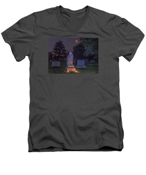 Men's V-Neck T-Shirt featuring the photograph Jessie Monument Under The Blood Moon by Stephen  Johnson