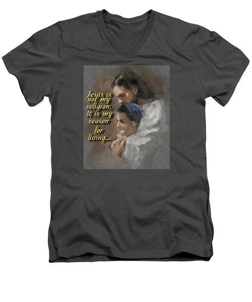 Jesus Is Not My Religion Men's V-Neck T-Shirt