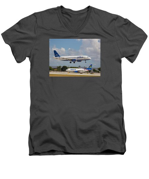 Jetblue Over Spirit Air Men's V-Neck T-Shirt