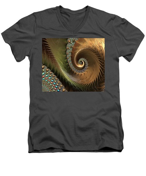 Jewel And Spiral Abstract Men's V-Neck T-Shirt
