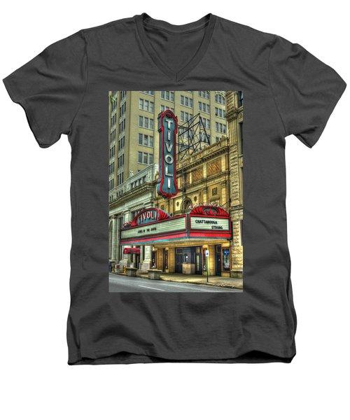 Jewel Of The South Tivoli Chattanooga Historic Theater Men's V-Neck T-Shirt by Reid Callaway