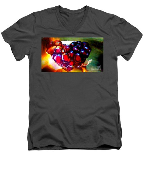 Men's V-Neck T-Shirt featuring the painting Jeweled Heart In Light And Dark by Genevieve Esson