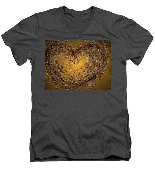 Jeweled Heart Men's V-Neck T-Shirt