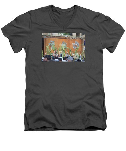 Jewish Sunrise Prayers At The Western Wall, Israel 4 Men's V-Neck T-Shirt