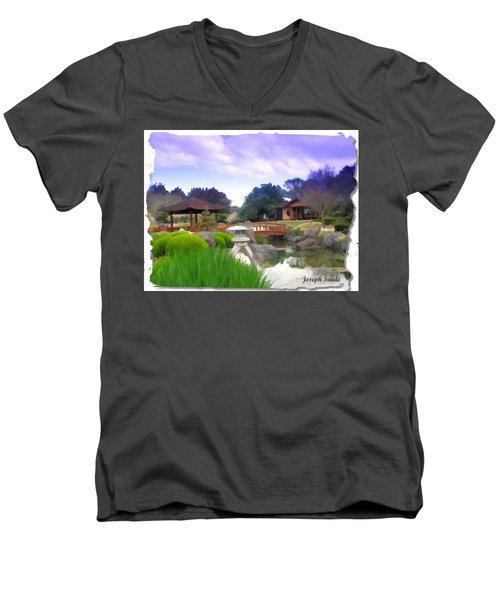 Men's V-Neck T-Shirt featuring the photograph Jg-0021 Kotaji Lantern by Digital Oil