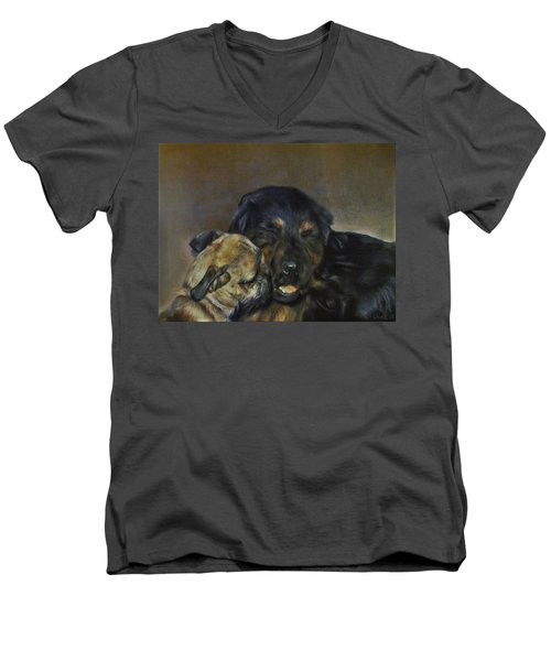 Men's V-Neck T-Shirt featuring the painting Jim And Ozzy by Cherise Foster