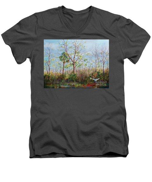 Jim Creek Lift Off Men's V-Neck T-Shirt by AnnaJo Vahle