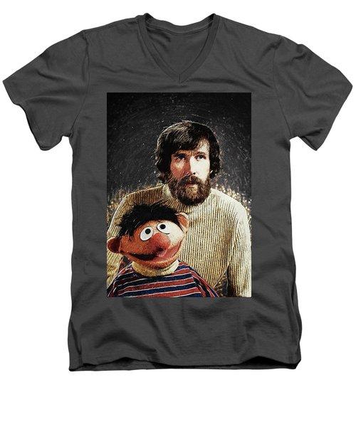 Men's V-Neck T-Shirt featuring the digital art Jim Henson With Ernie by Taylan Apukovska