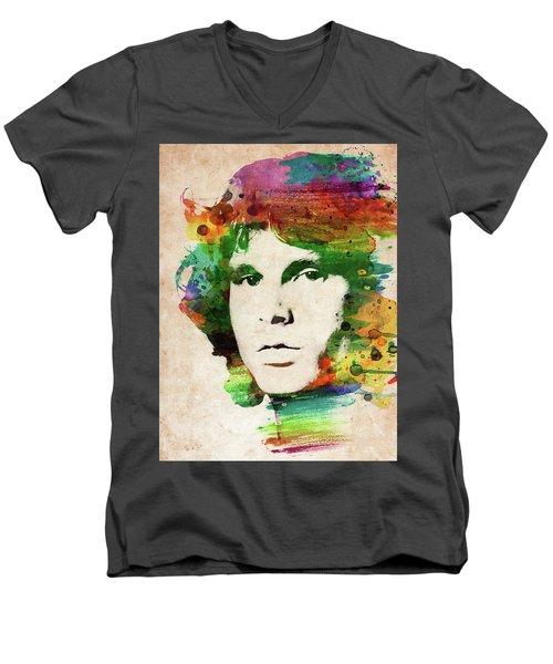 Jim Morrison Colorful Portrait Men's V-Neck T-Shirt