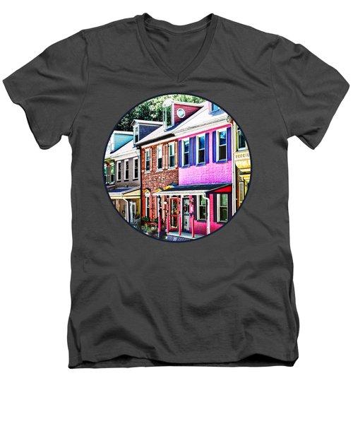Jim Thorpe Pa - Colorful Street Men's V-Neck T-Shirt