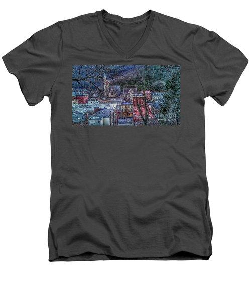 Jim Thorpe Pennsylvania In Winter #1 Men's V-Neck T-Shirt