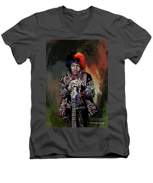 Men's V-Neck T-Shirt featuring the painting Jimi  by Andrzej Szczerski