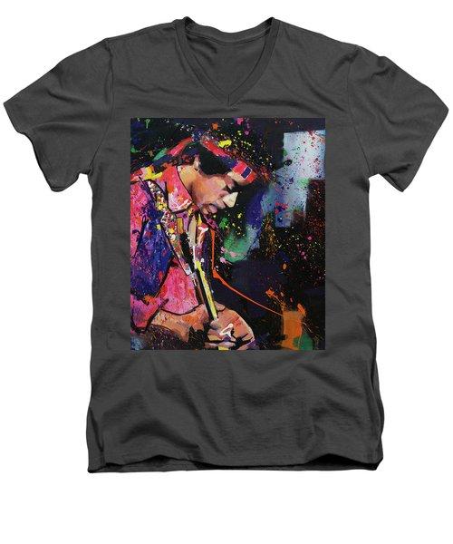 Jimi Hendrix II Men's V-Neck T-Shirt by Richard Day